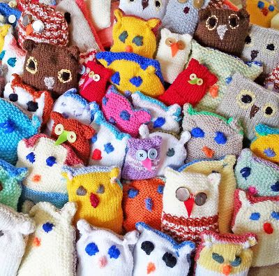 Owls made by the Fairfax Court Yarnstormers