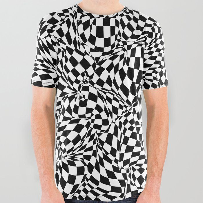 9c404072b Buy Eyesore All Over Graphic Tee by grandeduc. abstract, checkerboard,  pattern, black