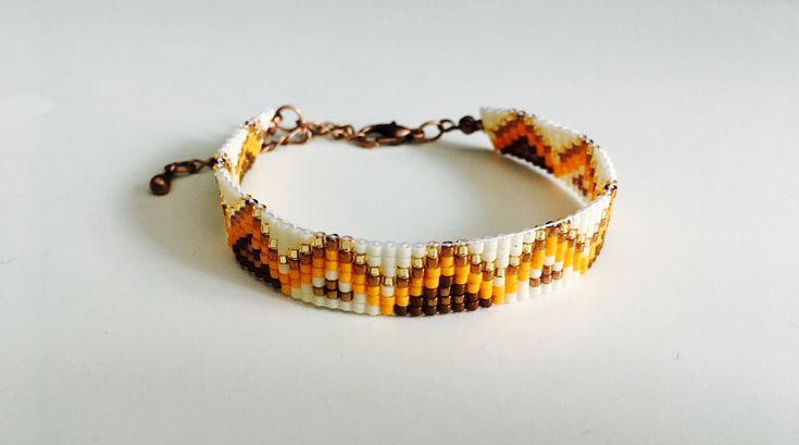 Lovely bead looming bracelet for women, Miyuki beads Beige/Orange/Bronze/Brown - Handmade in Montreal by SamsCharmz on Etsy