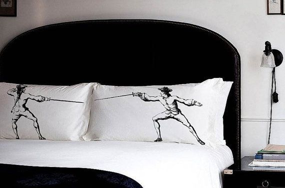 2 PILLOW FIGHTING fencing pillowcases swords fight Antique vintage sport retro UNIQUE Gift Black room decor old Standard pillow case New