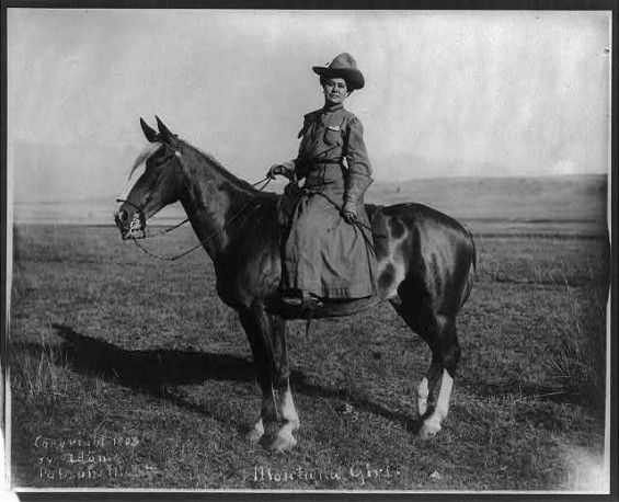 Montana cowgirl 1909 -worked on the ranch and performed the same duties as their male counterparts.