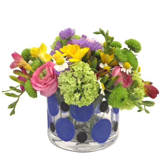 Handpainted glass vase spring flowers fleria.gr