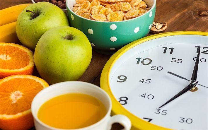Lataa kuva Ruokavalio, käsitteitä, laihtuminen, terveellinen syöminen, vihreää omenaa, aamiainen
