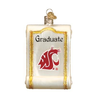 """WSU+Diploma+Christmas+Ornament+62012+Merck+Family's+Old+World+Christmas+Size:+3.25""""+Introduced+2016+Material:+Mouth+blown,+hand+painted+glass+Prepackaged+Box.++"""