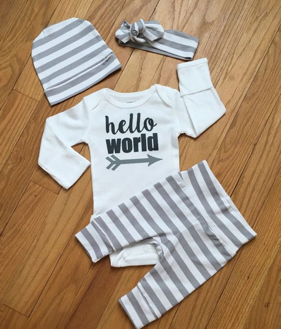 b108893c83a Newborn Baby Gender Neutral READY TO SHIP coming home outfit Gray and White  Stripe theme going home set hello world baby shower gift coming