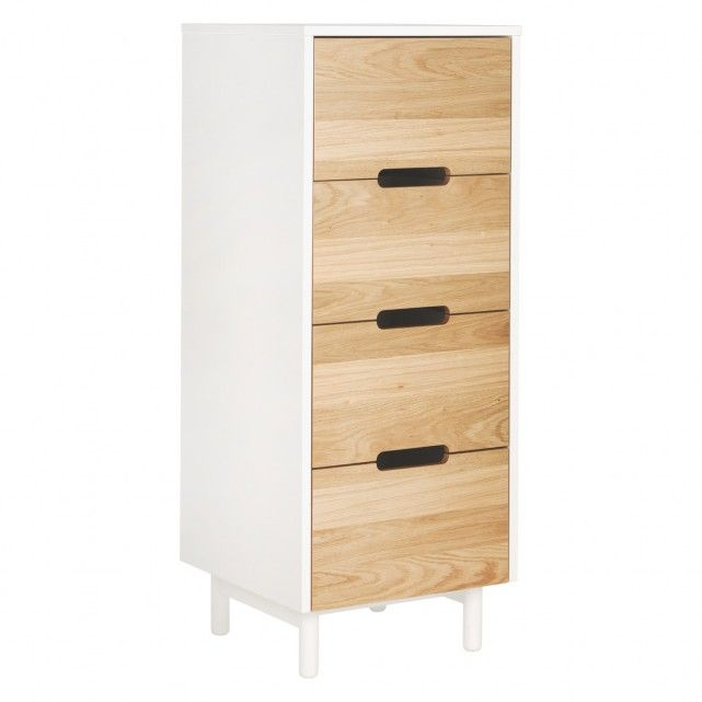 The Bumble white and oak 4 drawer tall chest juxtaposes warm toned, beautifully grained wood and a crisp white carcass in a streamlined design.[br]The drawer fronts have a feature cut-out detail for handles and the chest sits on solid wood feet.[br]Designed in house and exclusive to Habitat, the Bumble range includes white and oak bedroom furniture and occasional tables in a choice of colours.