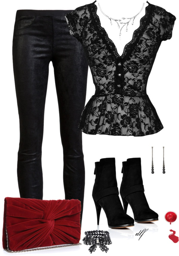 """Leather and Lace"" by tdfediuk ❤ liked on Polyvore .... Different pair of shoes and I'd rock that!"