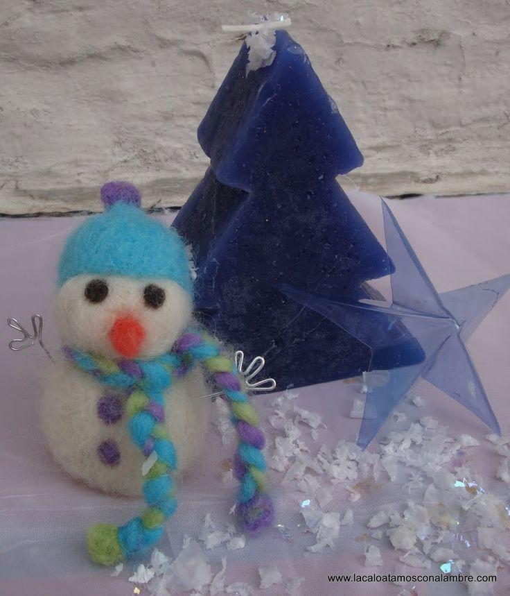 Muñeco de nieve de fieltro, Vela navideña y estrella hecha de botella pet