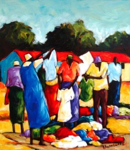 Acrylic Painting - Clothing for Sell by Peter Kwangware