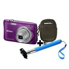 "CAMARA DIGITAL NIKON COOLPIX S2900 MORADO 20.1 MP LITIO ZO 5X HD  LCD 2.7"" + ESTUCHE + SELFIE STICK"