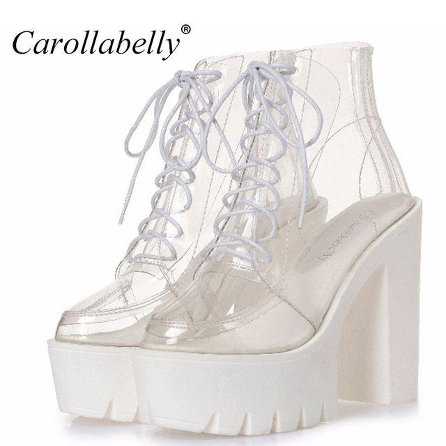 Толстые каблуки платформы Женские осенние сапоги прозрачные ботильоны женская обувь со шнуровкой на платформе Обувь на высоком каблуке сапоги женская обувь
