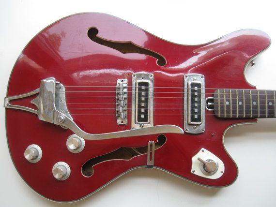 Vintage 1960s Teisco Semi Hollow Body Guitar by zapbananamusic