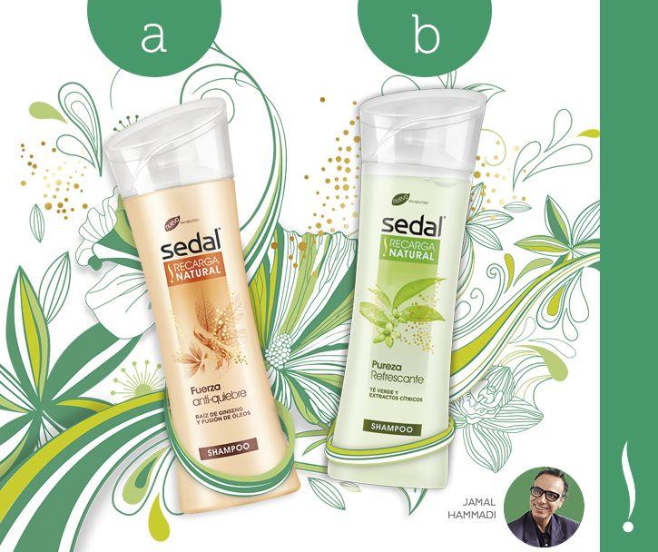 ¡Atención! Llegaron las nuevas variedades de Sedal #RecargaNatural, fórmula co-creada por nuestro experto Jamal Hammadi.  ¿Cuál es el tuyo? A) Fuerza anti-quiebre para pelo seco B) Pureza Refrescante para pelo graso