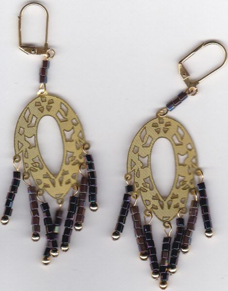 Handmade Plum and Gold Dangle Earrings by Crisseyscreations on Etsy