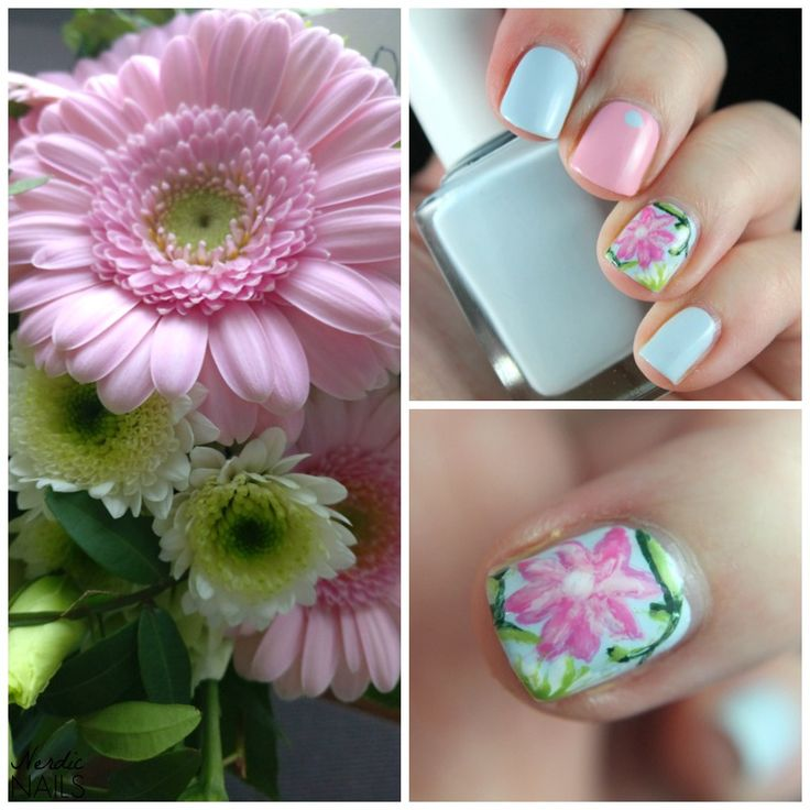 Nerdic Nails. Hand painted flower nail art.