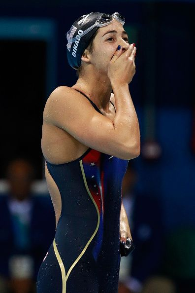 #RIO2016 Madeline Dirado of the United States celebrates winning gold in the Women's 200m Backstroke Final on Day 7 of the Rio 2016 Olympic Games at the...