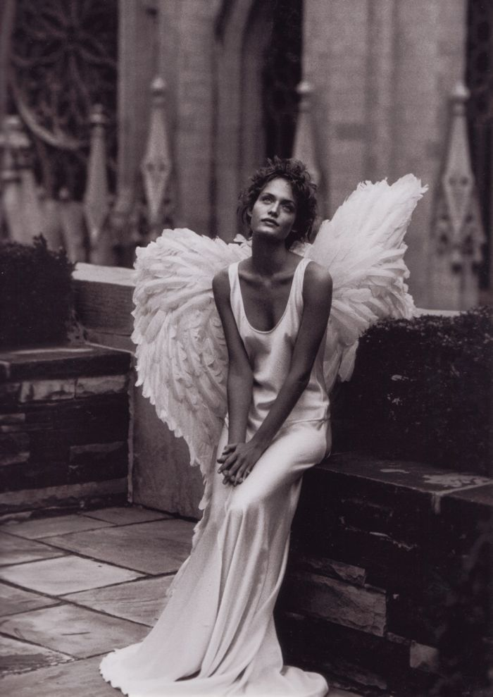 You must be an angel...  Amber by Peter Lindbergh, Harpers Bazaar 1993: Peter O'Toole, Fashion, Peterlindbergh, Wings, Peter Lindbergh, Amber Valletta, Angels, Photography