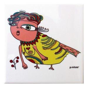 Mujer pájara. Genia voladora. Baldosa ilustrada. p.nitas* #tiles #baldosa #ilustracion #birds #pajara #illustration