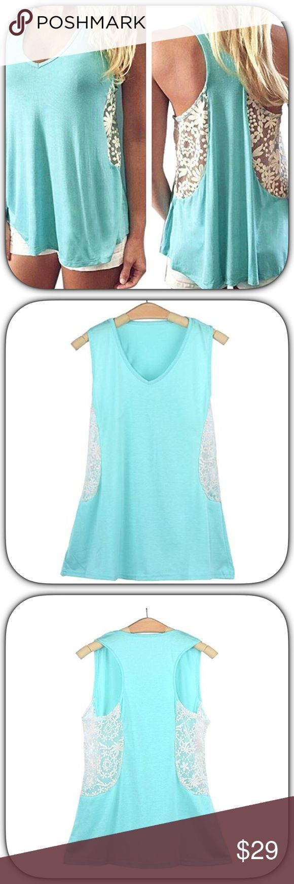 NWT Gorgeous Aqua & White Embroidered Lace Tank This is super soft and pretty! It is beautiful lace side panels to add some sex appeal to it! It has a V-neck which is very flattering on everyone! This is a gem! Bust 18 inches across! Boutique Tops Tank Tops