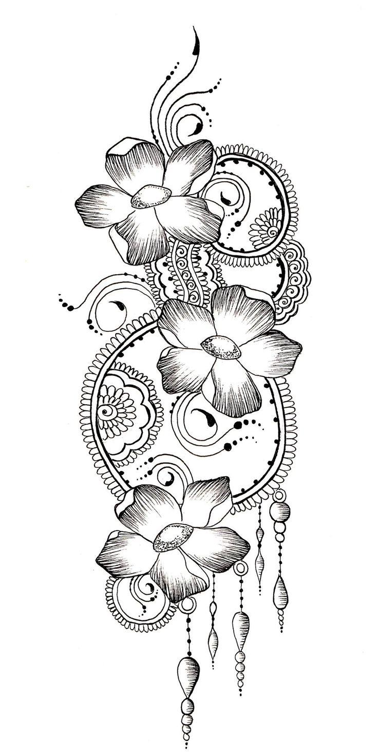 flower henna design drawing wwwJamilahhennacreationscom