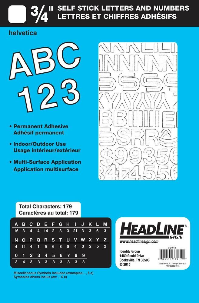 Headline Sign 31912 Stick On Vinyl Letters And Numbers White 3 4 Inch 6 32end Date Aug 06 10 47buy It Now Fo Vinyl Lettering Lettering Letters And Numbers