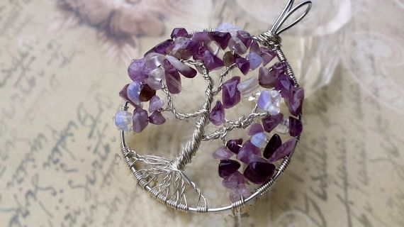 Amethyst Tree of Life Pendant/Chakra necklace/Birthstone