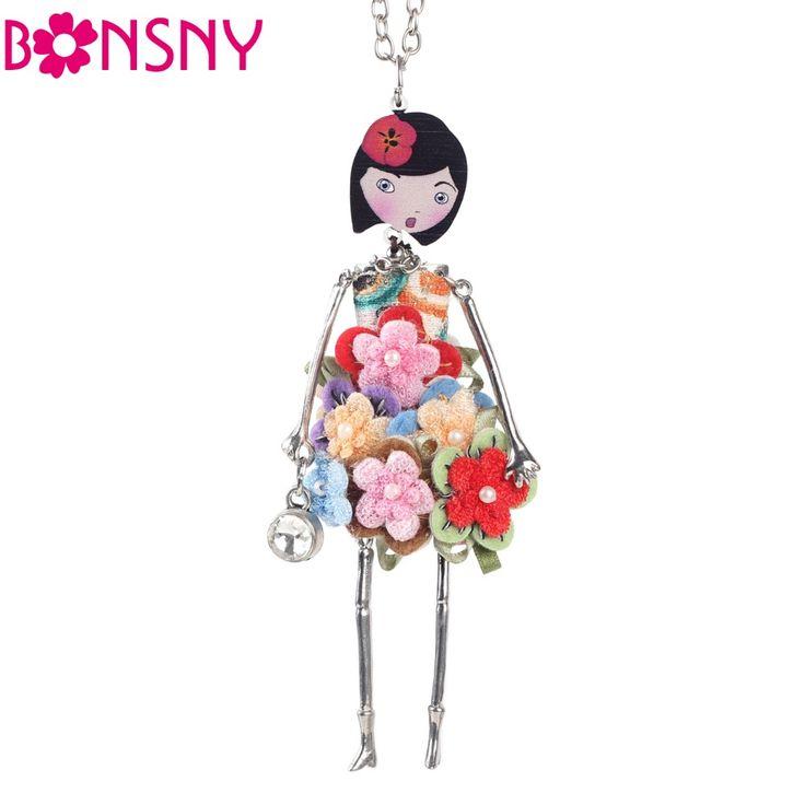 Vestido de muñeca Collar de Cadena Larga de 2016 Nueva Acrílico Bonsny Accesorios de Joyería de Moda de Aleación De Mujeres de La Muchacha de Flor Roja Figura