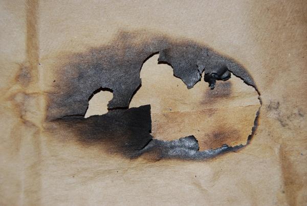 Burnt paper center