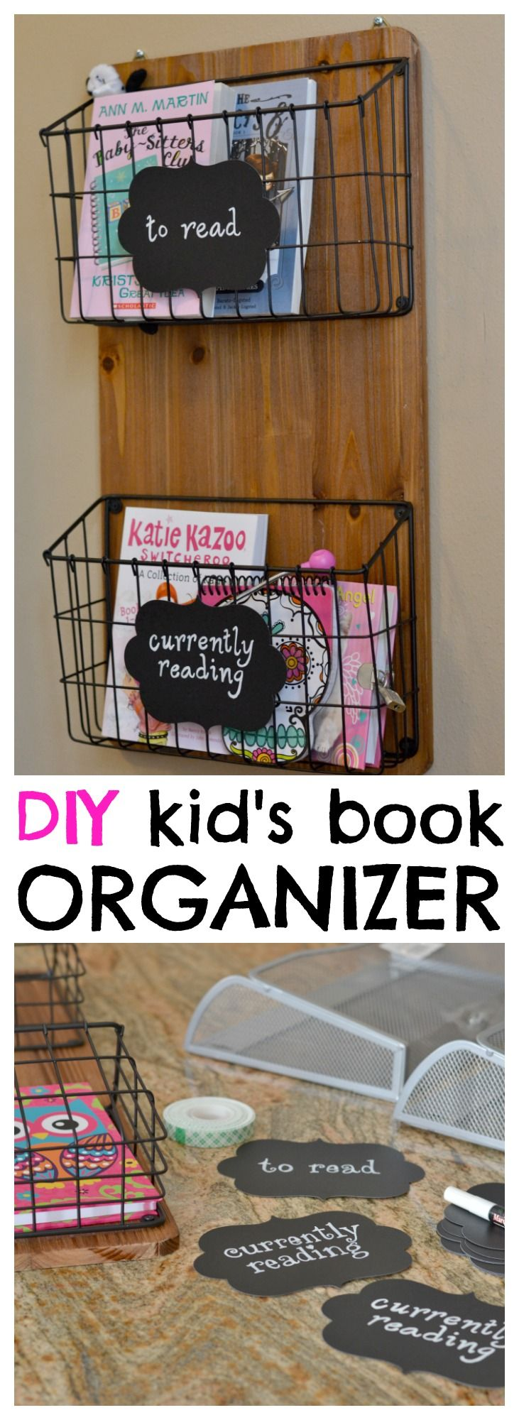 I don't love that this is really rustic, but a nicer version of this is a cute idea. Book organizer for kids.