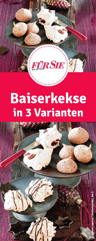 Baiserkekse in 3 Varianten - ausgefallene Plätzchen zu Weihnachten