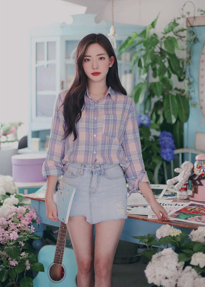 Image result for asian girl in check shirt