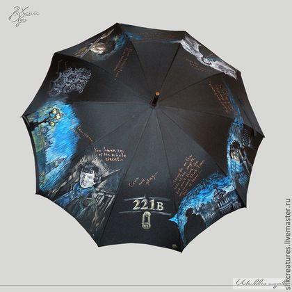 """Зонты ручной работы. """"Шерлок BBC"""" зонт с рисунком ручная роспись по мотивам сериала. Батик Роспись Шелковые штучки. Интернет-магазин Ярмарка Мастеров."""