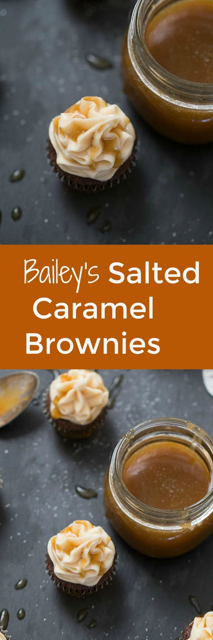 Salted Caramel Brownies are fudgy and filled with a caramel surprise!  The Irish cream infused buttercream is absolutely dreamy! This is a must-try dessert! lemonsforlulu.com via @Lemonsforlulu