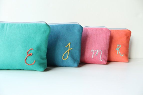 Personalized Monogram Cosmetic Bags, original designs by allisa jacobs #bridesmaid #gift #wedding