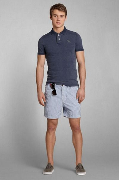 Update your bracket in a sun washed polo and a pair of striped classic fit shorts.