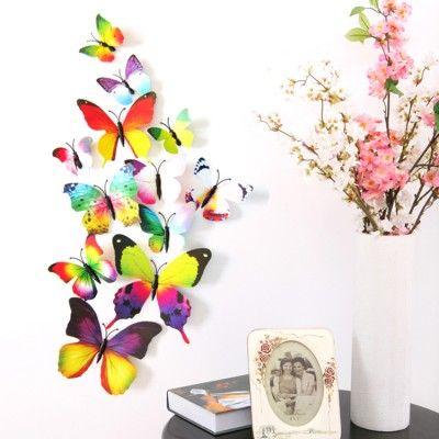 12-teiliges 3D-Wandtattoo-Set Schmetterling