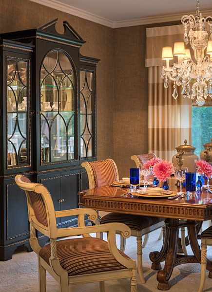 Blending And Combining Finishes Was The Goal Painted Ivory Chairs Combined With A Mahogany Table Black China CabinetsDining