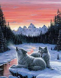 Twilight Song Wolf Cross Stitch Pattern