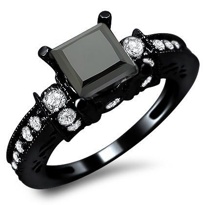 14k Black Gold Princess Diamond Engagement Ring!  *gasp!*