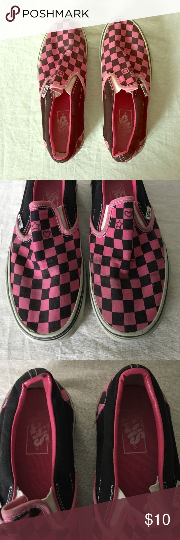 Vintage checkered Vans Cool grunge-inspired Vans. In good condition with wear consistent with their age. Could probably be cleaned up a bit if one so desired: small nick in the fabric of the left shoe (see photos). Shoes are sold AS IS. Vans Shoes Sneakers