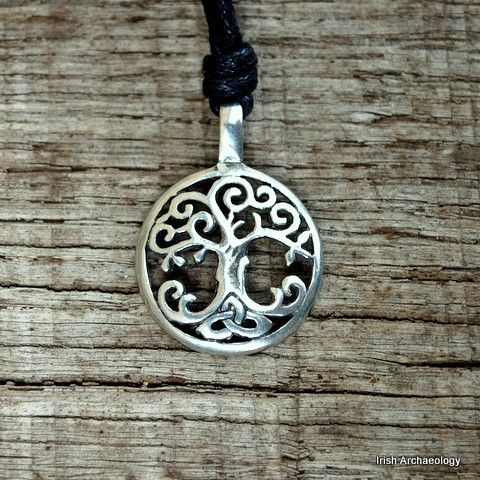This Tree of Life pendant features a twisting oak. There are seven noble trees in Celtic mythology: oak, apple, yew, pine, hazel, holly and ash - each with its own spiritual meaning.  Of these the oak tree was considered the most sacred and is described in the medieval Irish text, The Book of Ballymote thus:  'The oak tree of the Druids is king of trees. The wren, bird of the Druids and king of the birds, is the soul of the oak'.