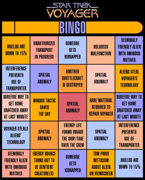 Star Trek Voyager Bingo...I want to try this!  There should be a Stargate one too with: for cryin' out loud, indeed, Daniel gets shot, etc