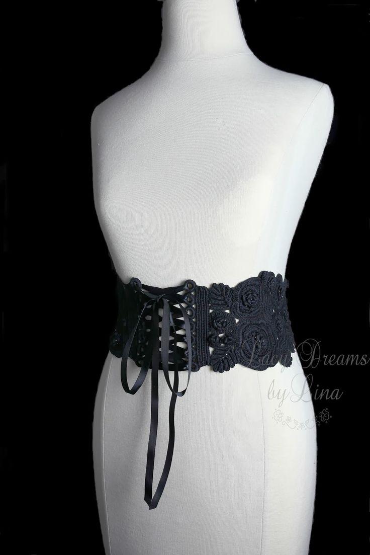Корсетный пояс на шнуровке.  И в черном цвете из ниточек получше: