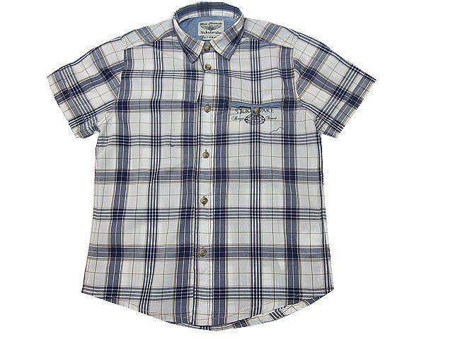 Camisa para niño de manga corta con cuadros abierto en azul y camel - Camisas para Niño de 2 a 16 Años - Mundo Kiriko