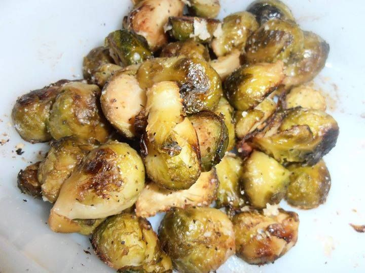 Roasted Brussel Sprouts    1 lb. fresh or frozen brussel sprouts (I used frozen) 1 T. olive oil 1 T. balsamic vinegar good pinch each of salt and pepper 1/2 tsp. garlic powder parmesan cheese  Slice the brussel sprouts in half and place in a baking dish (if using frozen allow to thaw just enough to slice).  Pour the olive oil and balsamic vinegar over them and toss to coat well.  Sprinkle with salt, pepper and garlic powder.  Bake in a 400 degree oven for 30 minutes, turning the sprouts 1/2…