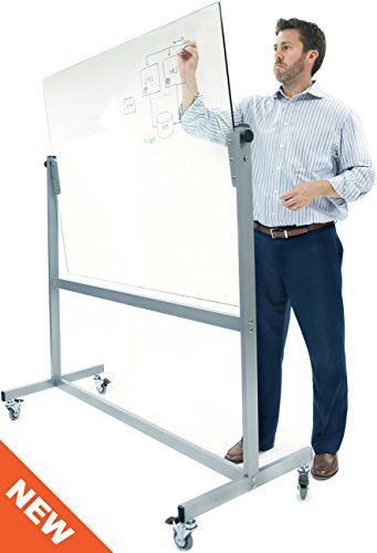"""CONFERENCE ROOM: Mobile GLASS Whiteboard 48"""" x 36"""" - with Tilt Adjustment and 3"""" Casters Stand Up Desk Store"""