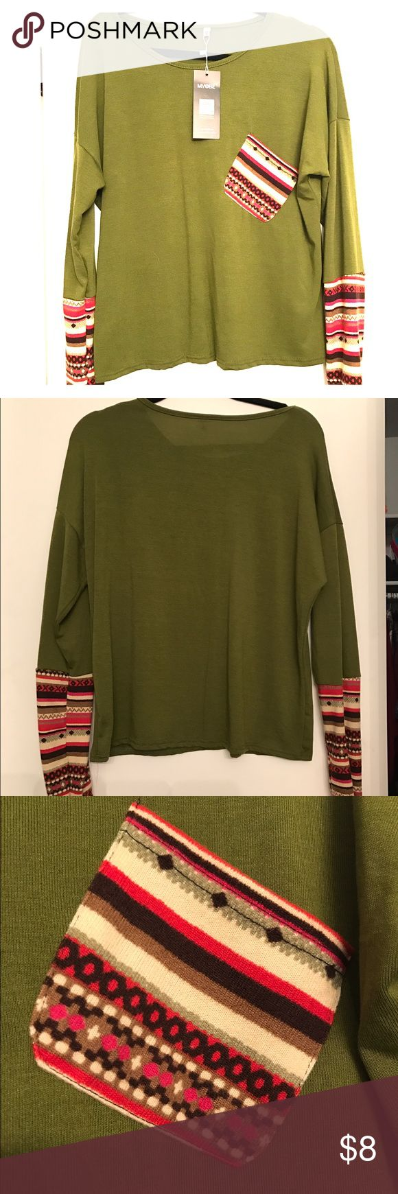 Olive green long sleeved top Olive green long sleeved sweater-like top with printed sleeves and pocket. Brand new with tags. Very soft material. Size XL but runs a little small, closer to a large. Sweaters Crew & Scoop Necks