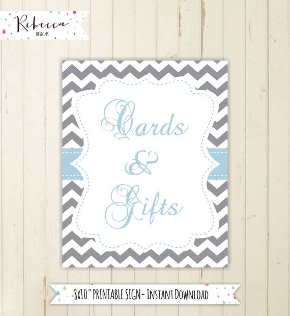 cards and gifts sign gift table sign chevron baby shower sign grey and blue baby shower sign boy baby shower gift and cards sign by RebeccaDesigns22