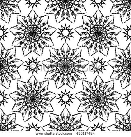 Vector pattern with arabic geometric ornament. Seamless repeating floral texture. Monochrome texture.