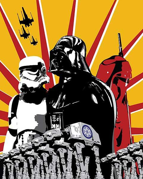 Vader and trooper. Inspired from a japanese warposter.